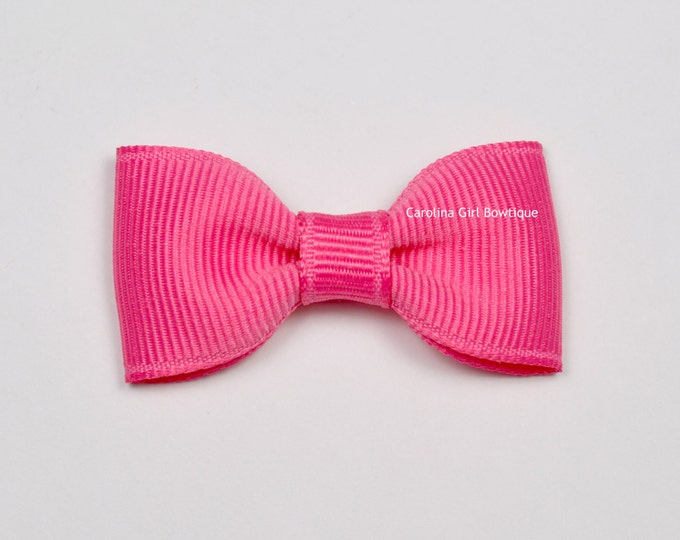 Hot Pink Baby Hair Bow ~ 2 in. Bow with No Slip Grip ~ Small Hair Bows Newborns Toddler Girls