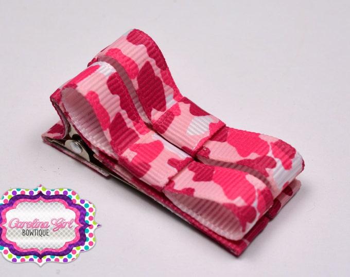 Pink Camouflage Hair Clips Basic Tuxedo Clips Alligator Non Slip Barrettes for Babies Toddler Girl Set of 2
