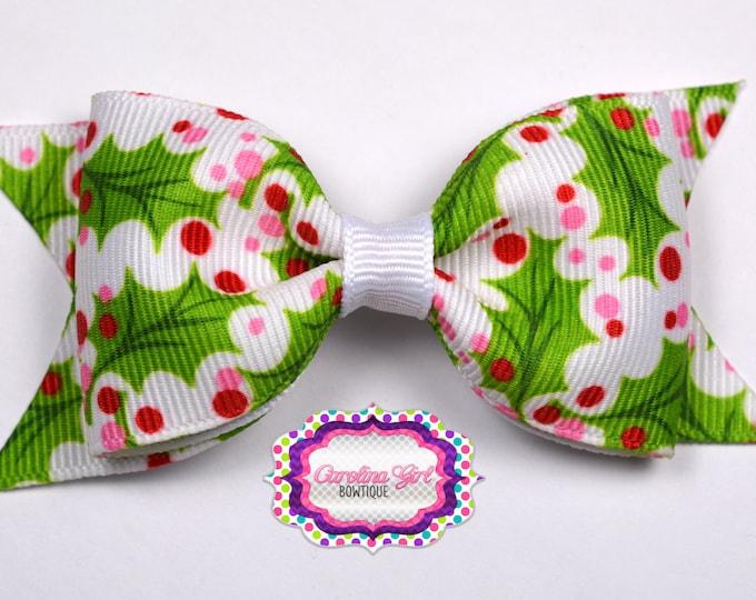 "Christmas Holly Tuxedo Bow ~ 3.5"" Hairbow ~ Small Hair Bow ~ Girls Barrette ~ Toddler Bow ~ Baby Hair Bow ~ Hair Clip ~ Girls Hair Bow"