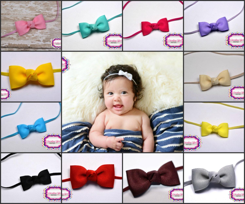 5 Tiny Bow Headbands - Small Headband Newborn Bows on Skinny ... 93f2465c948