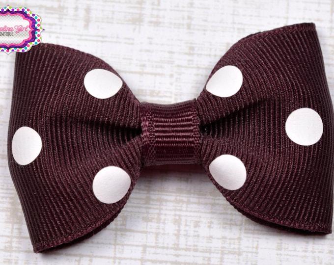 "Maroon Polka Dots Tuxedo Bow ~ 2.5"" Hairbow ~ Small Hair Bow ~ Girls Barrette ~ Toddler Bow ~ Baby Hair Bow ~ Hair Clip ~ Girls Hair Bow"