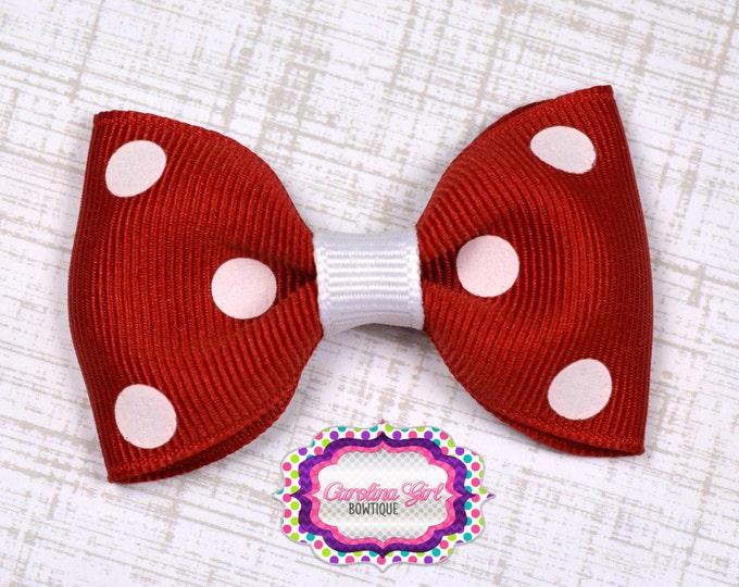 "Red Polka Dot Tuxedo Bow  ~ 2.5"" Hairbow ~ Small Hair Bow ~ Girls Barrette ~ Toddler Bow ~ Baby Hair Bow ~ Hair Clip ~ Girls Hair Bow"