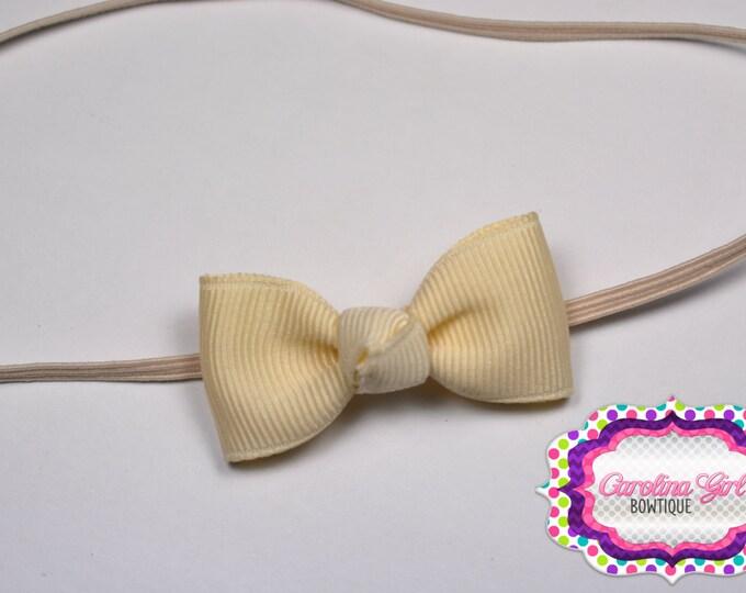 Ivory Newborn Headband - Small Headband withTiny Bow on Skinny Elastic - Girls Hair Bows