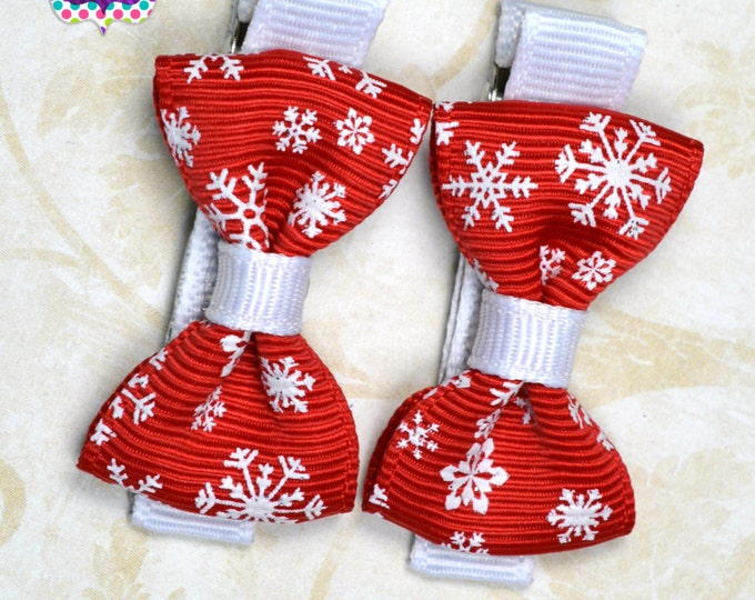 Red Snowflake Hair Bow Set of 2 Small Hairbows - Girls Hair Bows - Clippies - Baby Hair Bows - Mini Hair Bow Sets