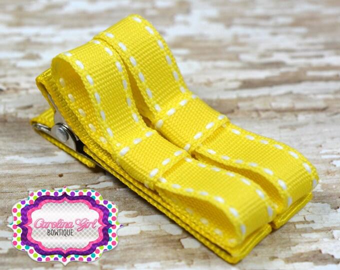 Yellow Saddle Stitch Hair Clips Basic Tuxedo Clips Alligator Non Slip Barrettes for Babies Toddler Girl Set of 2
