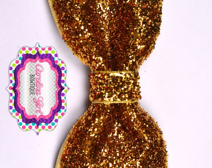 """Gold Glitter ~ 3"""" Hair Bow Tuxedo Bow ~ Simple Bow ~ Boutique Bow for Babies Toddlers ~ Girls Hair Bows"""