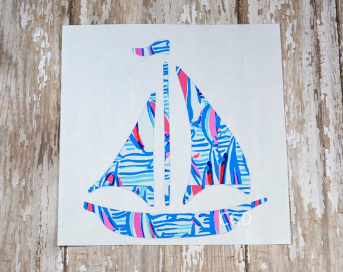 Lilly Pulitzer Inspired Sail Boat  Decal ~ Yeti Decal ~ Lilly Car Decal ~ Lilly Decal ~ Lilly Sticker