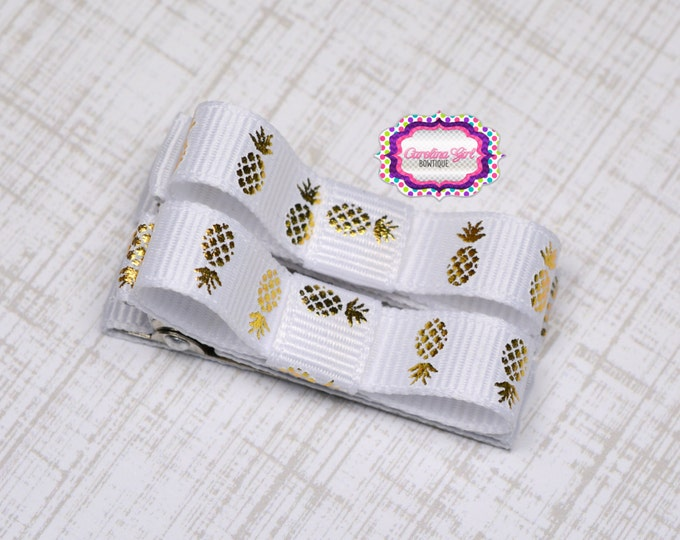 White with Gold Pineapples Hair Clips Basic Tuxedo Clips Alligator Non Slip Barrettes for Babies Toddler Girl Set of 2