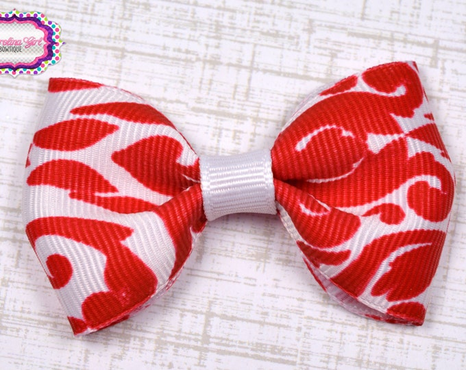 """Red Damask Tuxedo Bow ~ 2.5"""" Hairbow ~ Small Hair Bow ~ Girls Barrette ~ Toddler Bow ~ Baby Hair Bow ~ Hair Clip ~ Girls Hair Bow"""