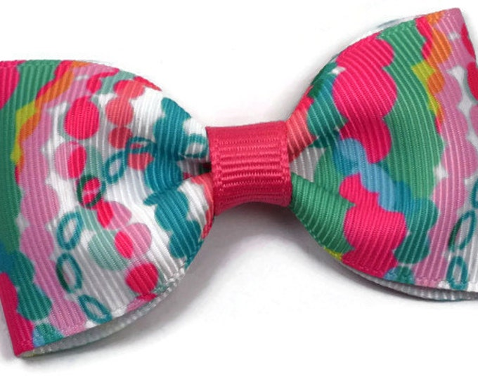 """Dripping in Jewels ~ 3"""" Hair Bow Tuxedo Bow ~ Lilly Inspired ~ Simple Bow ~ Boutique Bow for Babies Toddlers ~ Girls Hair Bows"""