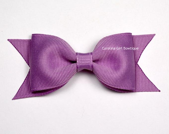 "Chalk Violet Tuxedo Bow ~ 3.5"" Hairbow ~ Small Hair Bow ~ Girls Barrette ~ Toddler Bow ~ Baby Hair Bow ~ Hair Clip ~ Girls Hair Bow"