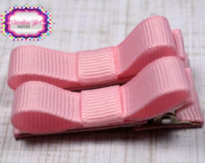 Pink Hair Clips Basic Tuxedo Clips Alligator Non Slip Barrettes for Babies Toddler Girl Set of 2