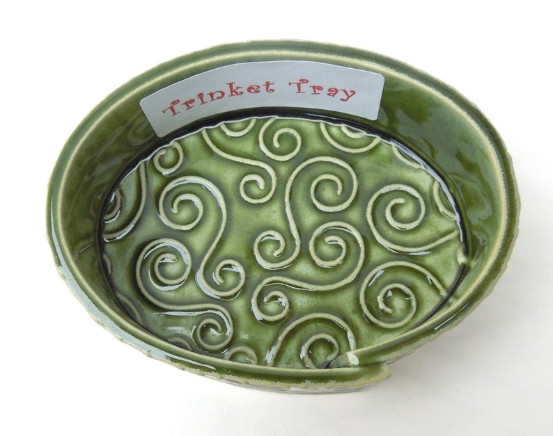 Green Textured Whimsical Swirl Handmade Ceramic Pottery Trinket Tray Dish