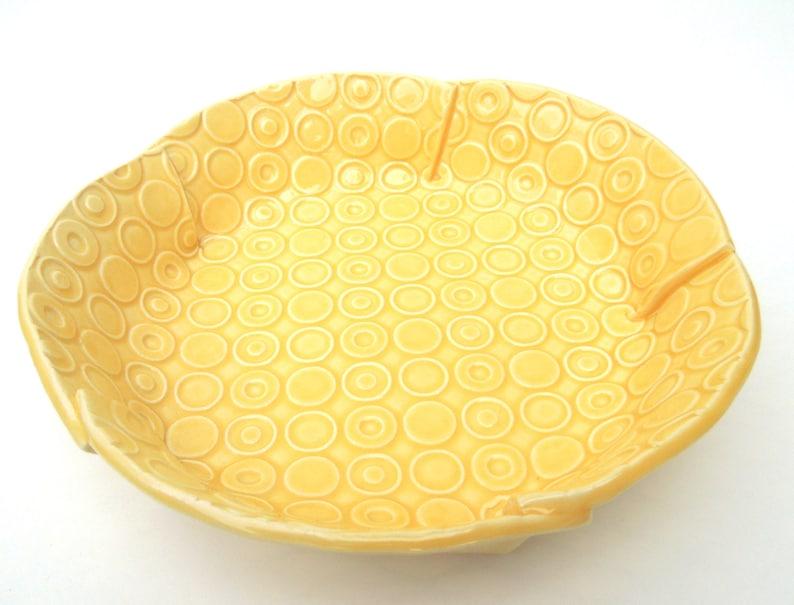 Mod Print Medium Yellow Deeply Textured Circle Handmade Ceramic Pottery Serving Bowl