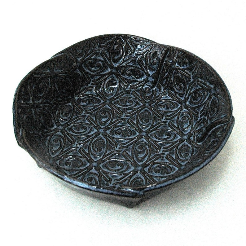 Medium Dark Blue Textured Tin Roof Handmade Ceramic Pottery Serving Dish Bowl