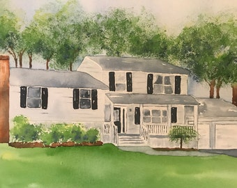 Painting of House - House Portrait - House Portrait Watercolor - House Painting - Building Painting - Custom Painting of House -