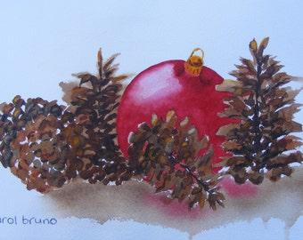 Christmas Watercolor, Watercolor for Christmas, Christmas Card Painting, Art Work For Christmas, Holiday Watercolor, Holiday Painting