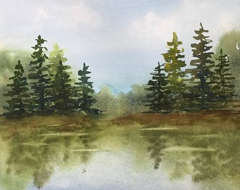 Reflections-Original Watercolor of Pine Trees and Pond-Wall Art-Home Decor-Landscape Painting