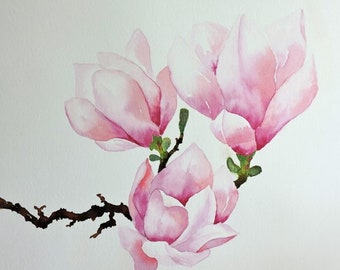 Magnolia Flower - Magnolia Print - Garden Wall Art - Painting with Pink Flowers - Botanical Wall Art - Pink Flower Painting - Magnolia Tree