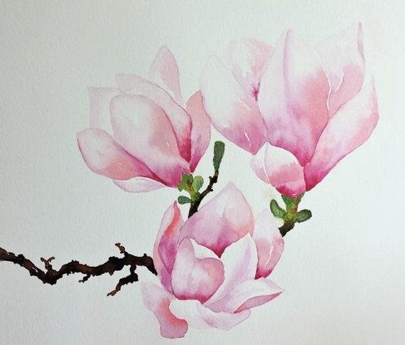 Magnolia Flower Magnolia Print Garden Wall Art Painting Etsy