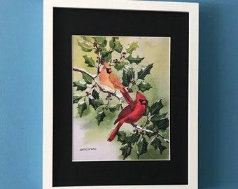 Cardinal Decor - Cardinal Print - Wildlife Decor - Nature Lover Decor - Bird Painting - Bird Lover Gift - Cardinal Art - Winter Painting