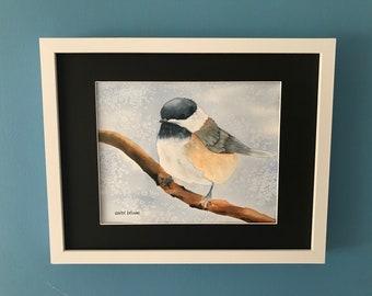 Bird Painting - Bird Nursery Decor - Bird on Branch - Chickadee Art - Wildlife Painting - Bird Lover Painting - Bird Lover Gift - Garden Art