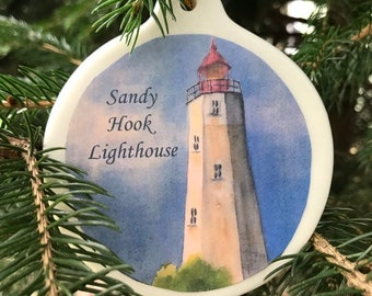 Lighthouse Gift - Lighthouse Decor - Beach Lover Gift - Beach Christmas Ornament - Sea Lover Gift - Sandy Hook Lighthouse - Jersey Shore