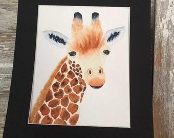 Giraffe Art, Giraffe Painting, Giraffe Decor for Nursery, Wildlife Art, Watercolor Art of Wildlife, Whimsical Wall Art, African Decor