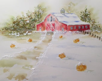 Red Barn Painting - Painting of Farm - Snowy Farm Scene - Watercolor Painting - Landscape of Farm - Red Barn - Winter Scene