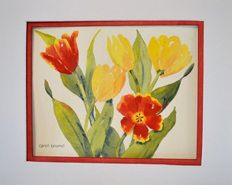 Tulip Painting - Red Tulip - Painting of Tulip - Red Flower Painting - Red Watercolor Flowers - Tulip Decor - Garden Wall Art - Tulips