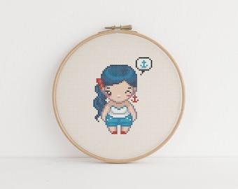 Hello sailor girl cross stitch pattern - instant download pdf