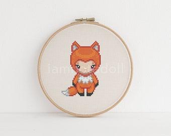 Fox girl cross stitch pattern - instant download pdf