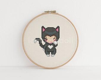 Kitty cat girl cross stitch pattern - instant download pdf