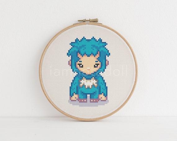 Yeti A Cute Pixel Art Counted Cross Stitch Pattern