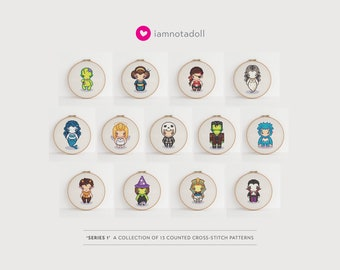 Series 1 - a collection of 13 cute pixel art counted cross stitch patterns
