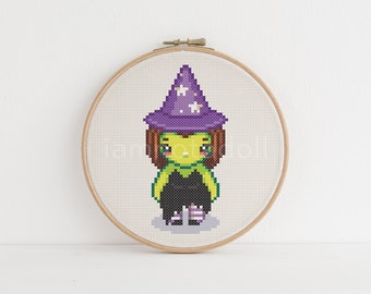 Witch  cross stitch pattern, instant download, pdf