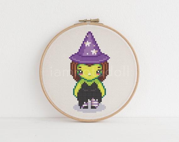 Witch A Cute Pixel Art Counted Cross Stitch Pattern