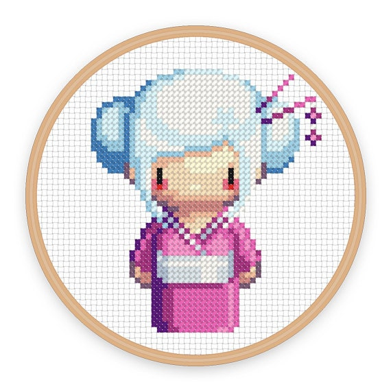 Geisha Girl Sora A Pixel Art Counted Cross Stitch Pattern Etsy