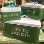 French Garden Boxes Storage Box Tin Organization Seed Box Bulbs Art Supplies Set of 3