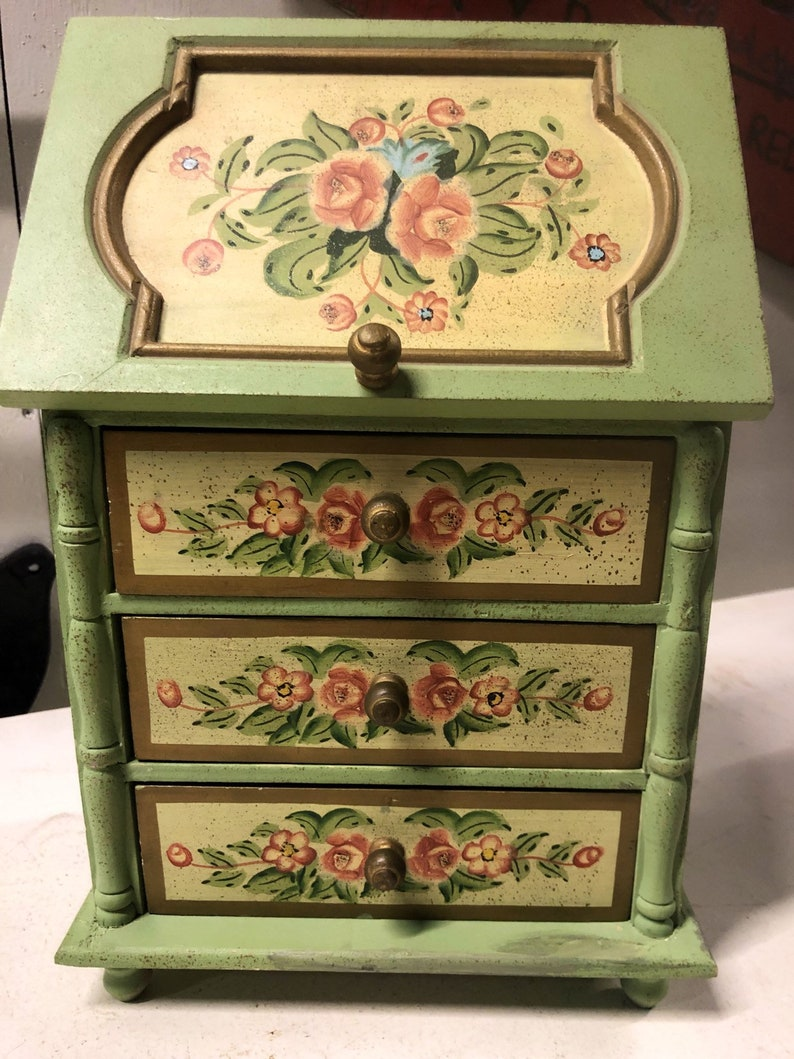 Pretty Victorian French Look Jewelry Box Green Floral Wood image 0