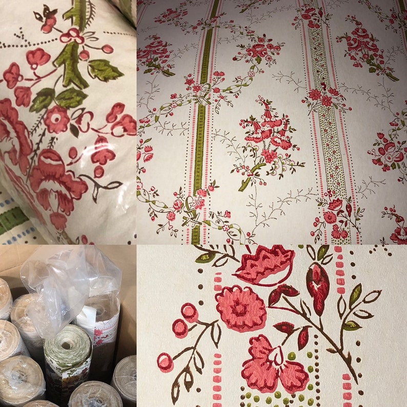 Vintage Double Roll Wallpaper  Floral Pink Red Vinyl Prepasted image 0