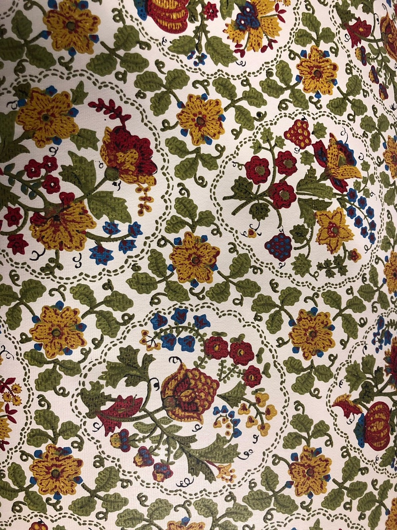 Vintage Double Roll Wallpaper Floral Multi Color White Vinyl image 0