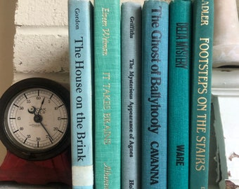 Vintage Book Collection Books Blue Home Decor 6 pc Shabby used abused