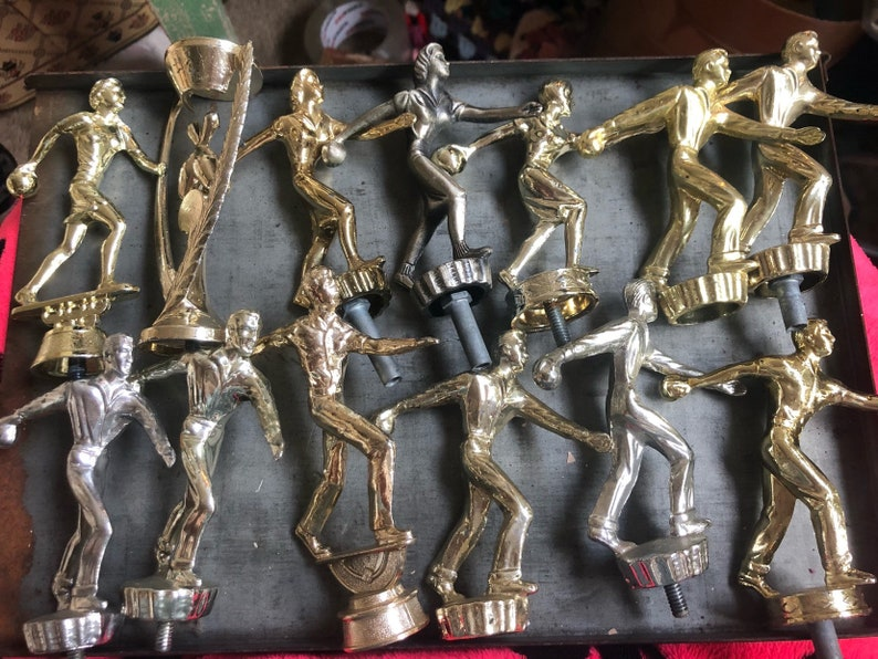 Vintage Bowling Metal Trophy Toppers 13pcs  Mixed Media image 0