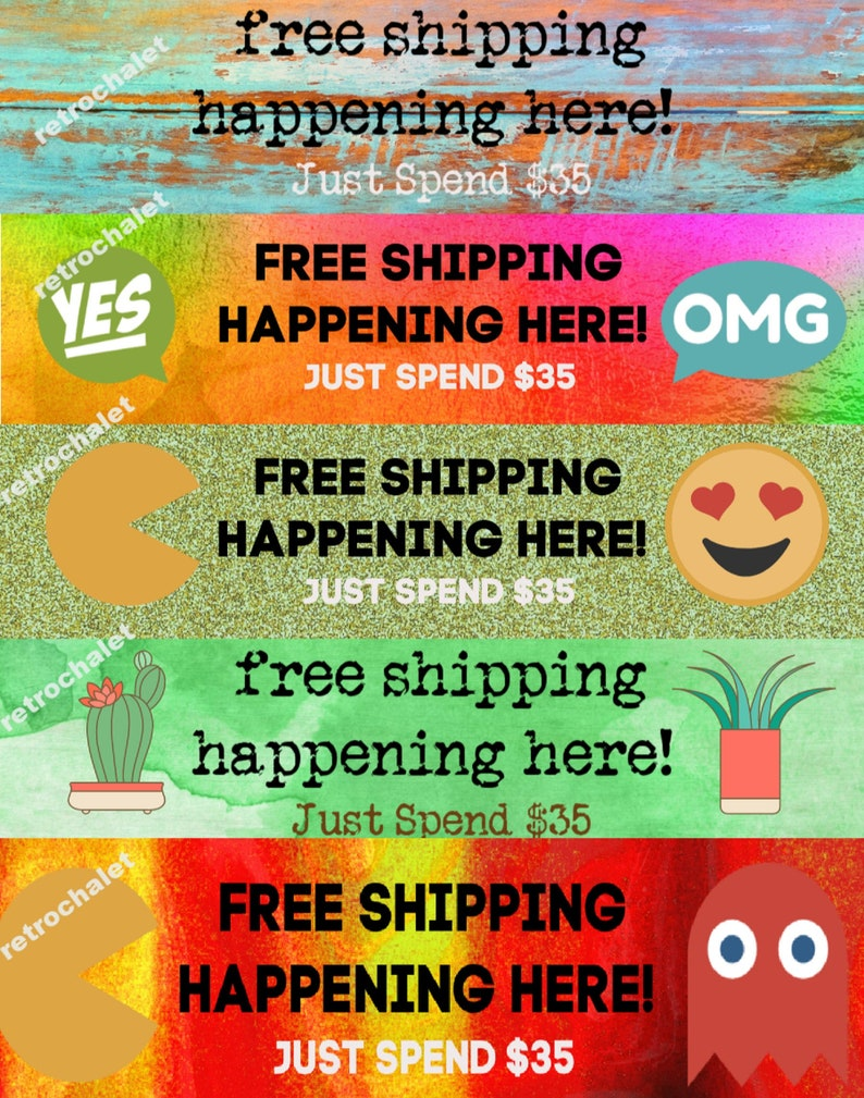 PIF Etsy Shop Banners Free Shipping Banners 5 pc digital web image 0