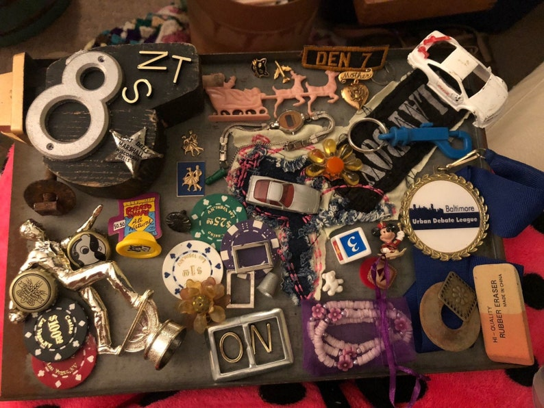 Vintage parts Mixed Media Assemblage Lot for Crafting Decor image 0