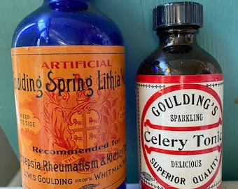 Home Decor Holistic Vintage Medical Bottles Tonic Vintage Pharmacy Apothecary Instant Collection Amber Blue Glass Display Potion Prop 2pc