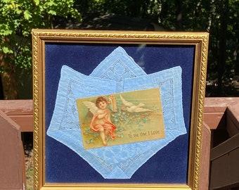 Victorian Framed Angel Postcard 1908 Handkerchief Wedding Gift Something Blue