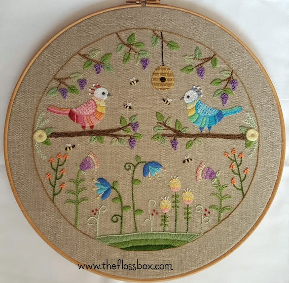 Two Birds Crewel Embroidery Pattern Etsy