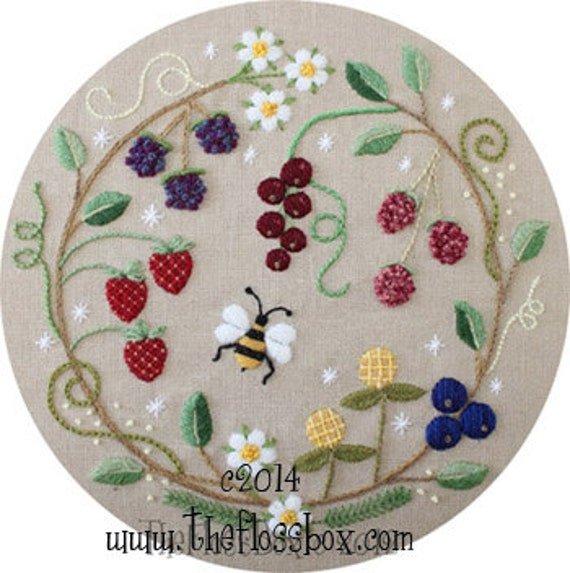 Fruit Wreath Crewel Embroidery Pattern And Kit Etsy Mesmerizing Crewel Embroidery Patterns